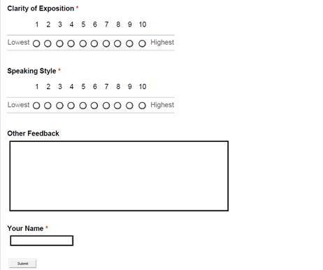 Ph70 – Presentation Feedback Form